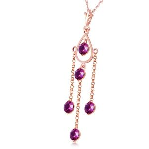14K. SOLID GOLD NECKLACE WITH NATURAL AMETHYST